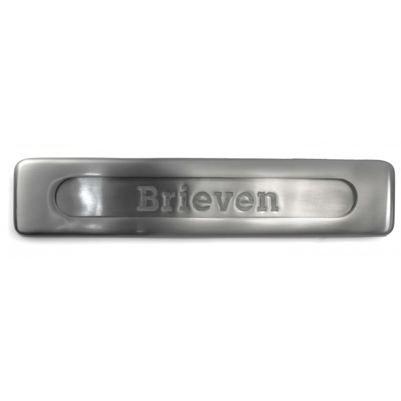 Briefplaat met tekst Brieven 335x70 mm, nikkel mat